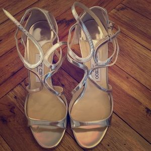 Jimmy Choo Ivette shoe in Mirror Leather Silver